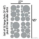 Assorted Vinyl Polka Dots circle wall decals vinyl stickers nursery decor (Silver/set of 32)