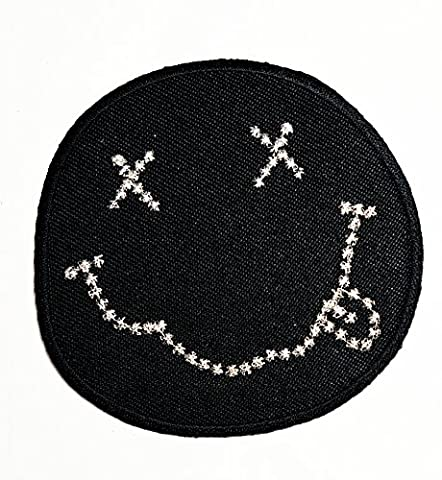 Nirvana Classic Smiley Black Punk Rock Song Music Band Heavy Metal Punk Rock Logo iron on sew on patch Jacket T Shirt Patch Sew Iron on Embroidered Symbol Badge Cloth Sign - Smiley Black Cap