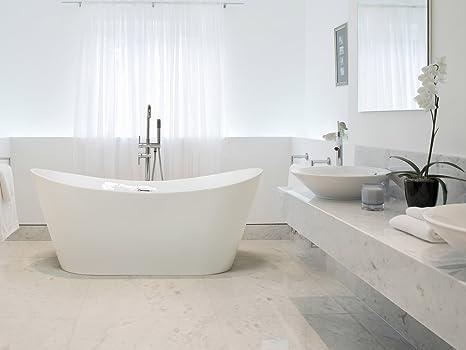 Vasca Da Bagno Acrilico Opinioni : Beliani vasca da bagno freestanding ovale in acrilico bianco