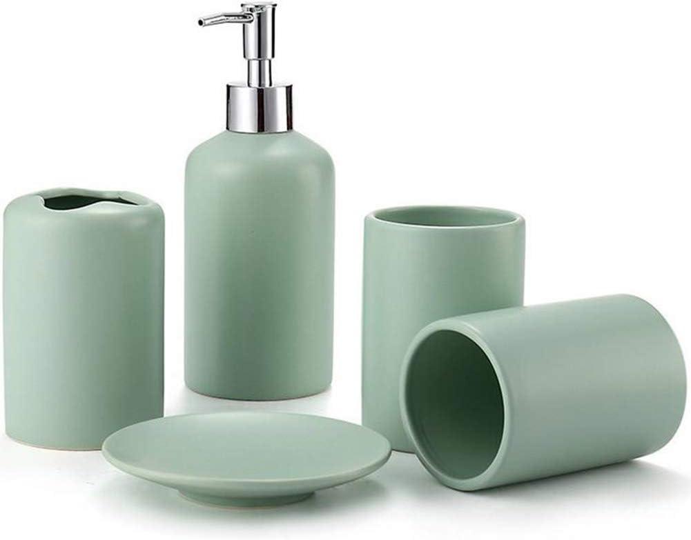 Tasse aussp/ülen Badeset TBSHLT 5 St/ück Keramik Bad-Accessoires-Set Seifenschale Badzubeh/ör Seifenspender Zahnb/ürsten-Halter