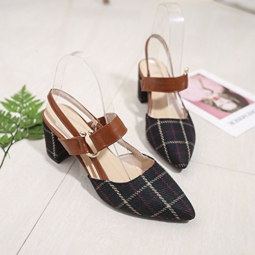 1Color à à Pointu Chaussures Boucle Baotou Rugueux Mot Hauts Femme à avec des Carreaux Visage Talons Plat Sandales gTBqwxT1dF
