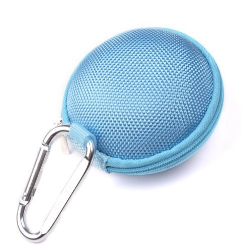 Case Star ® Light Blue Earphone handsfree headset HARD EVA Case - Clamshell/MESH Style with Zipper Enclosure, Inner Pocket, and Durable Exterior + Silver Climbing Carabiner With Case star cellphone b