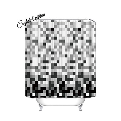 54 Black Cube - Grey Cube Pattern Ombre Bathroom Shower Curtain - White and Black Square 54x78inch