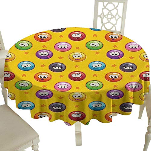Table Cloth for Outdoor Emoji,Smiley Surprised Grumpy Sad Happy Mood Faces Background with Little Stars Art Print,Multicolor D50,Modern Washable Tablecovers