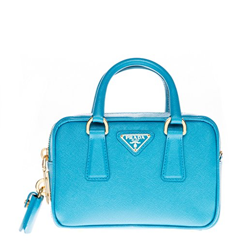 Prada Women's Mini Saffiano Top Handle Bag Light Blue (Handbag Prada Blue)