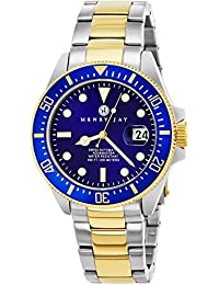 """Henry Jay Mens """"Limited Edition"""" Swiss Self Winding Mechanical Automatic 23K Gold Plated Two Tone Stainless Steel """"Specialty Aquamaster"""" Professional Swiss Dive Watch With Sapphire Crystal"""
