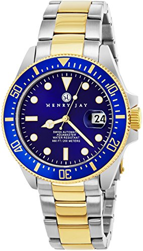 "Henry Jay Mens ""Limited Edition"" Swiss Self Winding Mechanical Automatic 23K Gold Plated Two Tone Stainless Steel'Specialty Aquamaster' Professional Swiss Dive Watch With Sapphire Crystal"