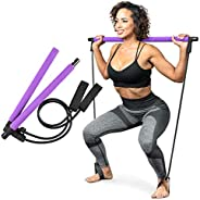 Serenily Pilates Bar Yoga Stick - Pilates bar kit for Home Gym with Pilates Resistance Bands - At Home Workout