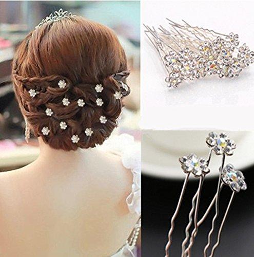 Stylish 20Pcs Wedding Bridal Flower Crystal Hairpin Hair Clips - Pin Lime Crystal