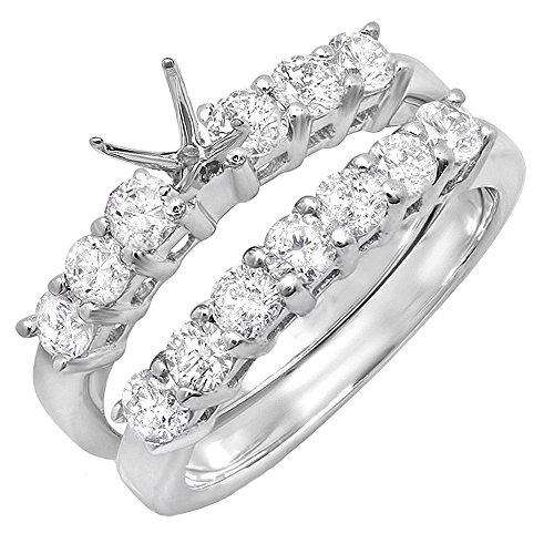 (Dazzlingrock Collection 1.00 Carat (ctw) 14K Round Diamond Semi Mount Bridal Engagement Ring Set 1 CT, White Gold, Size 9.5)