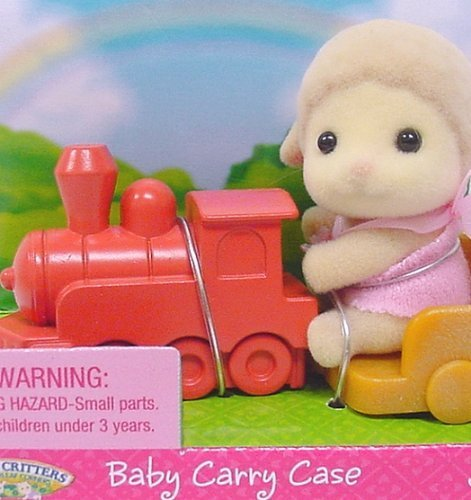 Calico Critters - Baby Carry Case - Lamb on Train (Calico Carry Case)