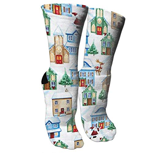 (Ysikfk Unisex Colorful Patterned Socks Compression Socks for Christmas Village Houses Crew Socks )