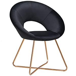 Duhome Upholstered Accent Chairs Home Office Modern Chairs for Dining Room Contemporary Velvet Arm Leisure Chairs for Bedroom 1 pcs, Black