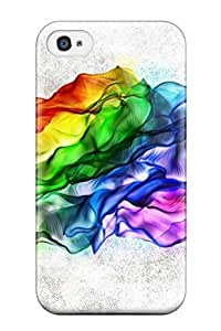 Durable Defender Case For Iphone 4/4s Tpu Cover(abstract Rainbow)