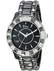 Christian Dior Womens CD1241E0C001 Dior VIII Black Face Crystal and Diamond Watch