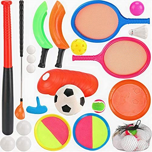 7 in 1 Outdoor Sports Games Combo Multipack Set | Baseball, Golf, Soccer, Badminton, Scoop Ball, Paddle Toss and Catch Ball, Flying Disc | Outdoor Play Toys for Kids