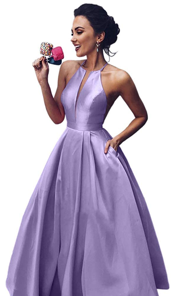 Lavender Dressylady Women's A Line Halter Sleeveless Satin Long Prom Dress with Pockets