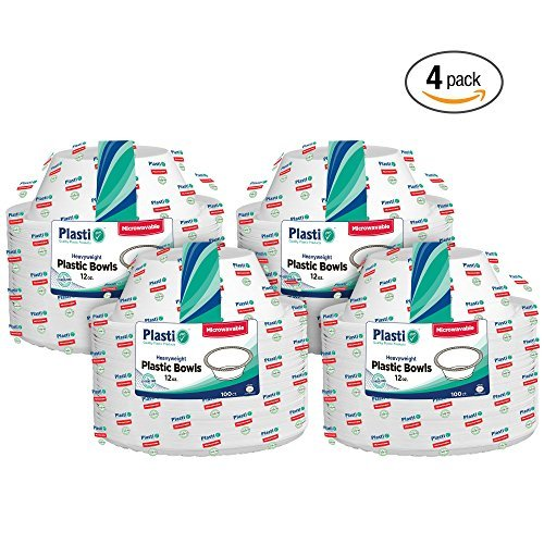 (Plasti Plus 100 Count Disposable Plastic Heavy Weight Bowls Microwave Safe 12 Ounce, White Pack Of 4 (400 Bowls Total))