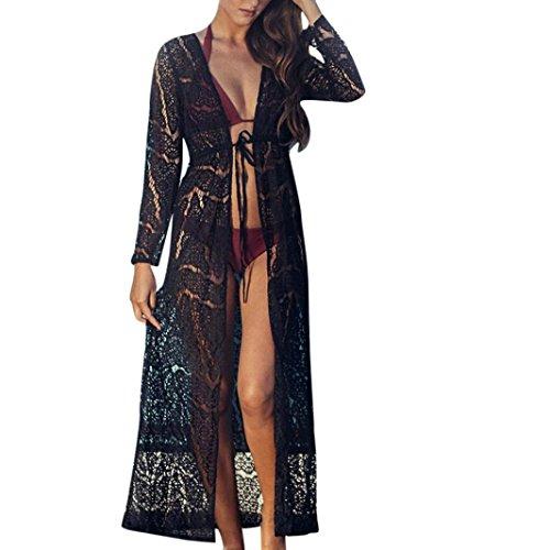 Maxi Boho Les Couvrir Noir Bikini Beach Kimono Femmes Dentelles Cinnamou wXqHvg
