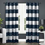 Exclusive Home Surfside Grommet Top Window Curtain Panels, Indigo (2 Pack/Panel Pair 2), 54-Inchx96-Inch
