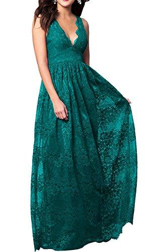 Neu Traumhaft Ivydressing Abendkleider Rosa Spitze Bodenlang Neck V Prinzessin Ballkleider Promkleider Tuerkis qOwUT5w