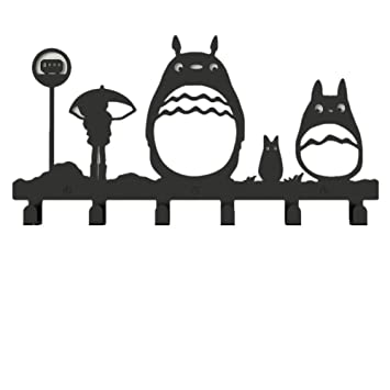 yournelo Metal Cute Totoro perchero de pared de 6 ganchos ...