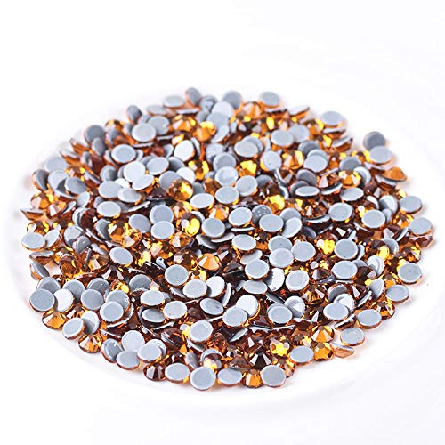 Jollin Hot Fix Flatback Rhinestones Glass Diamantes Gems 6.4mm(30ss 288pcs,Topaz)
