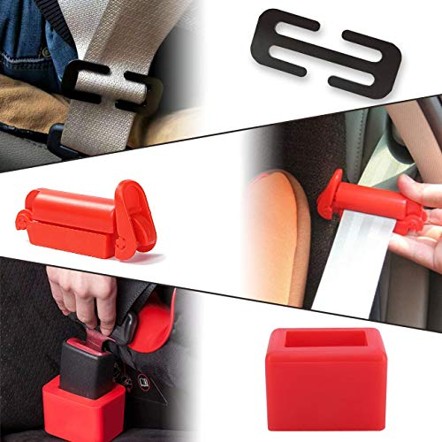 (Genleas 1 set Car Seat Belt Buckle Holder and Clip & Metal Lock, Buckle Up - Soft Silicone - Easy Installation - Holds The Seatbelt Receiver In An Upright Position - Makes Buckling Easier For Kids, Ad)
