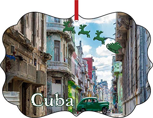 Rosie Parker Inc. Santa Klaus and Sleigh Riding Over Old Havana, Cuba Elegant Semigloss Aluminum Christmas Ornament Tree Decoration - Unique Modern Novelty Tree Décor Favors