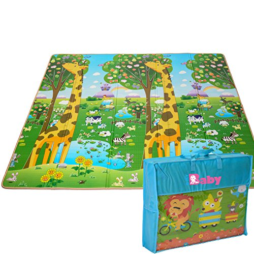 Kids Foldable Play Mat by BMyBaby - Portable Baby Play Mat for Picnic Garden Nature and More - Non-Toxic Waterproof Stain-Resistant Joy Carpets Games