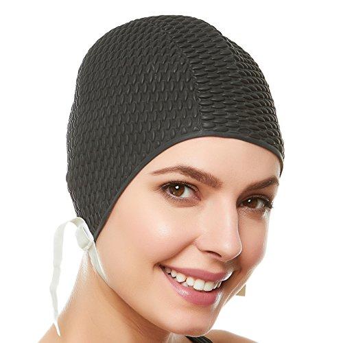 Beemo Swim Bathing Caps for Women/Girls Latex w/Chin Strap - Black