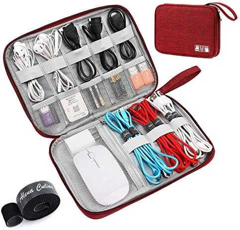 Electronic Organizer Electronics Accessories Cases Travel Universal Cable Organizer for Cable, Charger, Phone, USB, SD Card (Red)