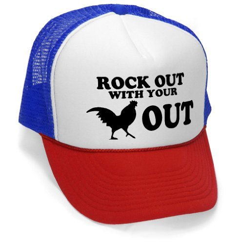 ROCK OUT - funny joke party gag Mesh Trucker Cap Hat, RWB (Funny Caps)