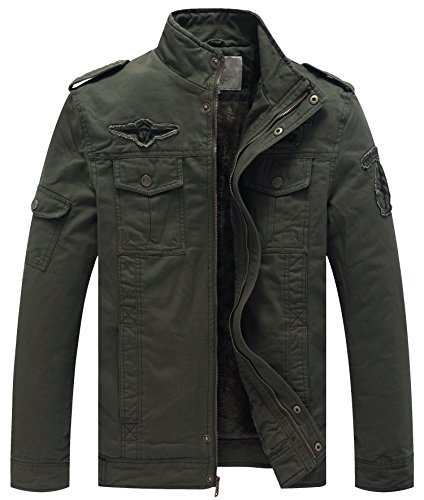 - WenVen Men's Winter Military Style Air Force Jacket (Army Green, US Size L)