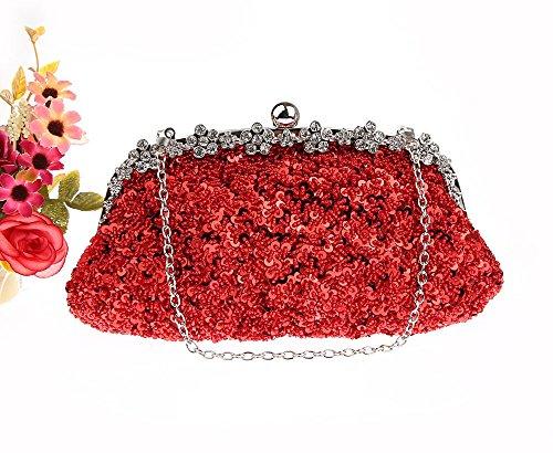 Bridal ZAKIA Clutch Women' Sequins Red Purse Evening Wedding Party Handbag Bag Beaded aIarHxz