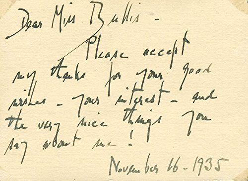 Laura Ingalls Autograph Note Signed 11/16/1935