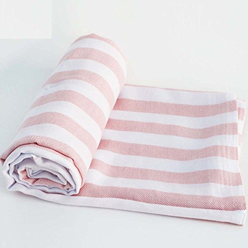 Babyhood Organic Bamboo Muslin Breathable Blankets Ultra Soft Baby Infant Receiving Blankets Pink Stripes by Babyhood