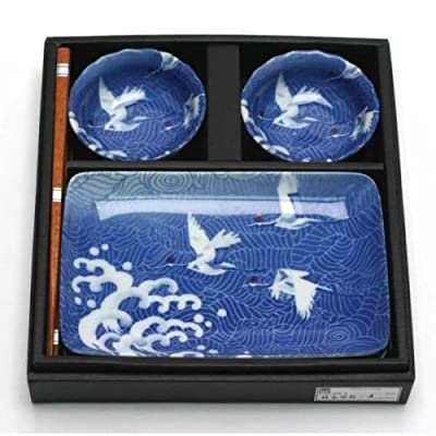 Cranes 6 Piece Dinnerware Set (Set of 6) - Two sets of rectangular plates, 8.2 inches x 5.3 inches Two sets of sauce bowls and two pairs of chopsticks Perfect not only for sushi, but artful salads and side dishes as well. - kitchen-tabletop, kitchen-dining-room, dinnerware-sets - 51JZCziI3IL. SS400  -
