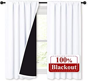 NICETOWN 100% Blackout Curtains 54 inches Long, Double-Deck Completely Blackout Window Treatment Thermal Insulated Lined Rod Pocket Drapes for Infant (White, 1 Pair, 52 inches Width Each Panel)
