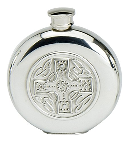 Edwin Blyde & Co Stylish Slimline 6oz Round Polished Pewter Handcast Bottle Pocket Hip Flask Featuring Celtic Cross Insert
