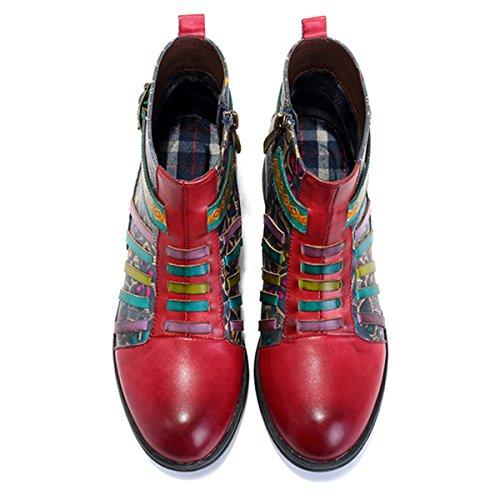 Stiefel Kurzschaft Handmade Kurz Boot Lederschuhe ANIT Blume Damen Komfort Boots Ankle Socofy Rutsch Stiefel Klassische 1gZxq5zw