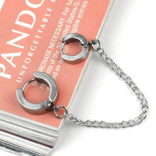 New Silver Piercing Double Ear Cuff ring Chain Earring Stud Goth Punk Rock Biker