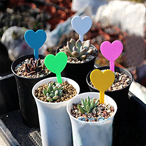 ti-Colors Heart Shape Plant Labels Plastic Garden Stakes Tags Nursery Garden Markers, 1.9