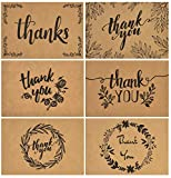 120 Elegant Kraft Paper Thank You Cards with Kraft Envelopes and Stickers - 6 Designs Bulk Notes with Black Letters for Weddings, Business, Formal and All Occasions 4x6 Inch
