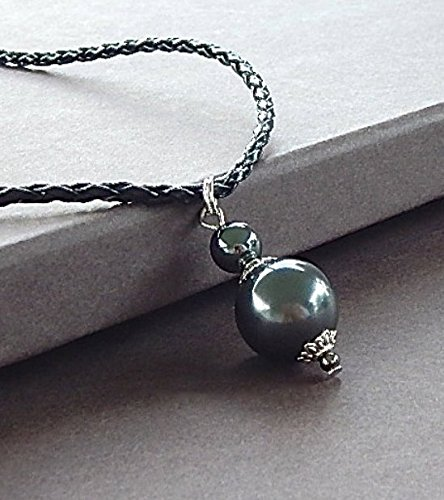 Edgy Swarovski Tahitian Black Pearl & Hematite Necklace Unisex Perfect For A Man or (Chanel Black Necklace)