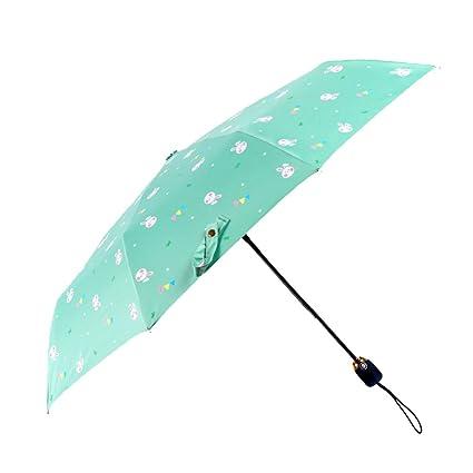 AFCITY Mujer Hombre Paraguas Viaje Sombrilla Paraguas Plegable de Vinilo Negro Sombrilla Protectora Paraguas de protección