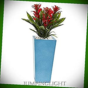 JumpingLight Triple Bromeliad in Turquoise Tower Vase, 26'', Red Artificial Flowers Wedding Party Centerpieces Arrangements Bouquets Supplies 28