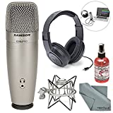 Samson C01U Pro USB Studio Condenser Microphone W/ Spider Shock Mount, Microphone sanitizer, Samson Stereo Headphones and FiberTique Cleaning Cloth