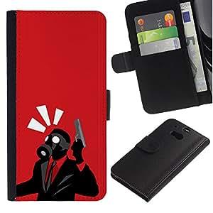 HTC One M8 - Dibujo PU billetera de cuero Funda Case Caso de la piel de la bolsa protectora Para (Spy Psycho - B0Rderlands Tf Game Gaming)