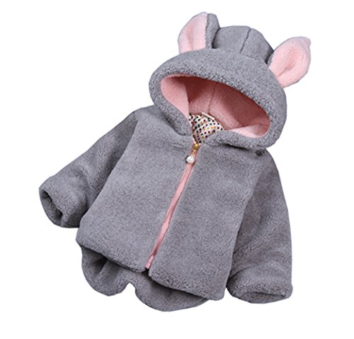 Taiycyxgan Baby Girls Winter Fleece Coat Rabbit Faux Fur Hoodies Jacket Bunny Ear Hat